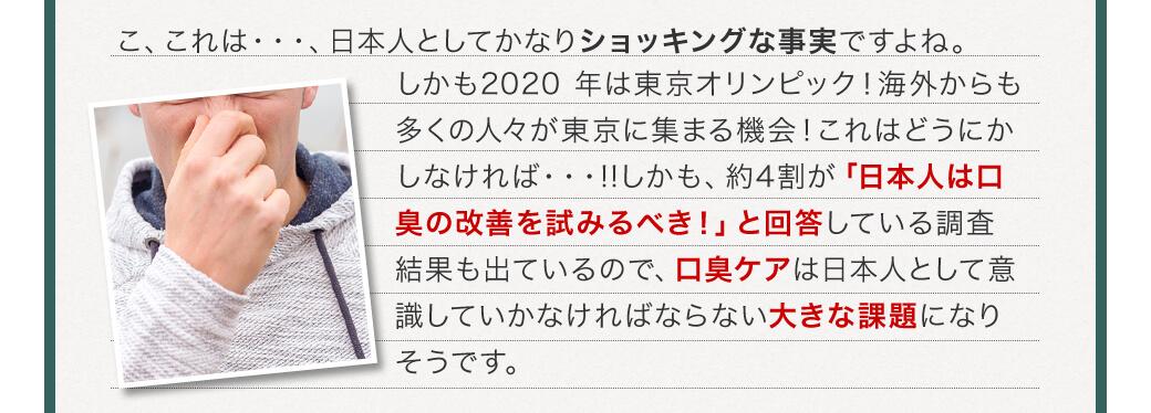 こ、これは・・・、日本人としてかなりショッキングな事実ですよね。しかも2020 年は東京オリンピック!海外からも多くの人々が東京に集まる機会!これはどうにかしなければ・・・!!しかも、約4割が「日本人は口臭の改善を試みるべき!」と回答している調査結果も出ているので、口臭ケアは日本人として意識していかなければならない大きな課題になりそうです。