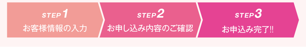 STEP1 お客様情報の入力 STEP2 お申込み内容のご確認  STEP3 お申込み完了