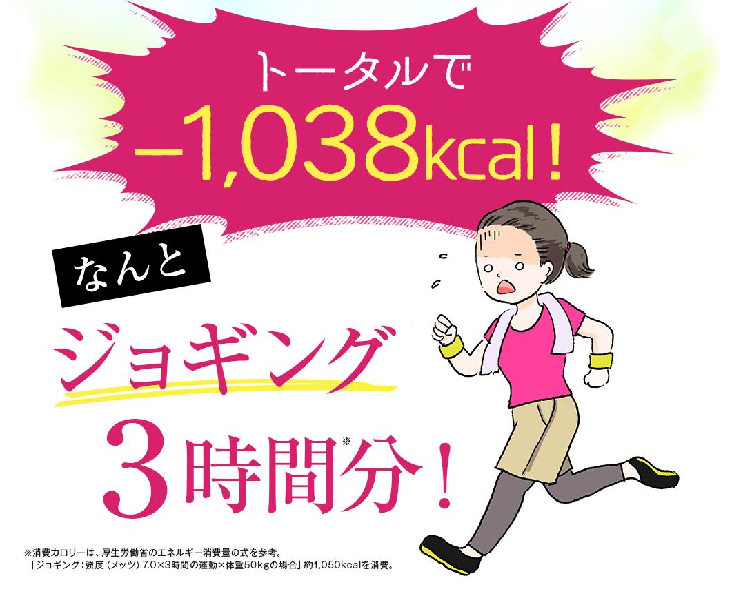 トータルで-1038kcal